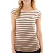 Liz Claiborne® Short-Sleeve Boatneck Striped T-Shirt - Petite