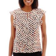Liz Claiborne® Short-Sleeve Ruffle Print Blouse