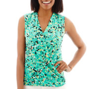 Liz Claiborne® Sleeveless Print Surplice Top