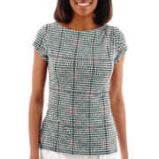Liz Claiborne® Short-Sleeve Shoulder-Pleat Knit Blouse