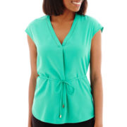 Liz Claiborne® Short-Sleeve Belted Tunic Top