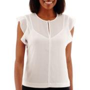 Liz Claiborne® Flutter-Sleeve Blouse