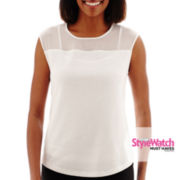 Liz Claiborne® Short-Sleeve Lasercut Knit Blouse