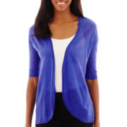 Worthington® Elbow-Sleeve Open-Front Cardigan Sweater