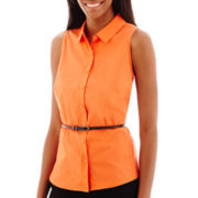 Worthington® Sleeveless Belted Shirt
