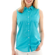 St. John's Bay® Sleeveless Button-Front Down Shirt - Petite