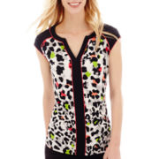 Worthington® Cap-Sleeve Piped Tunic Blouse - Tall