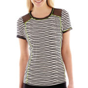 Worthington® Short-Sleeve Fabric-Mix Top - Tall