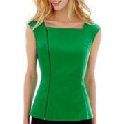 Worthington® Short-Sleeve Zipper Peplum Top - Tall