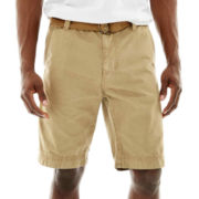 Plugg® Flat-Front Belted Shorts