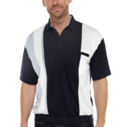 Palmland® Short-Sleeve Colorblock Banded-Bottom Polo