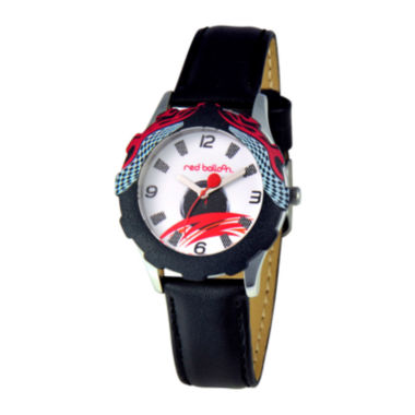 jcpenney.com | Red Balloon™ Boys' Black Racing Leather Strap Watch