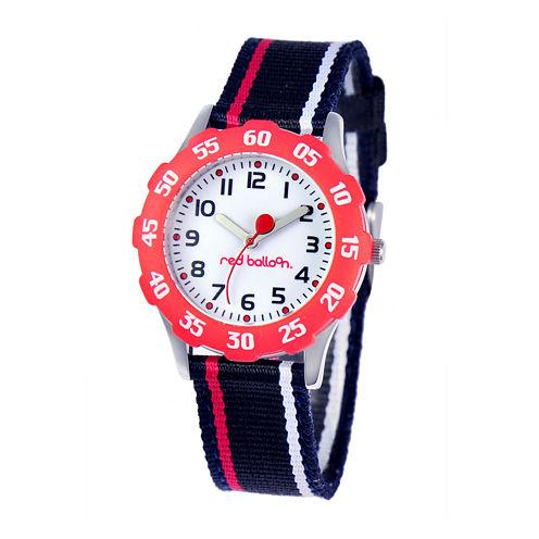 Red Balloon™ Boys' White Dial Black Striped Strap Watch
