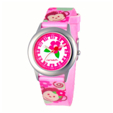 jcpenney.com | Red Balloon™ Girls' Pink Monkey Strap Watch