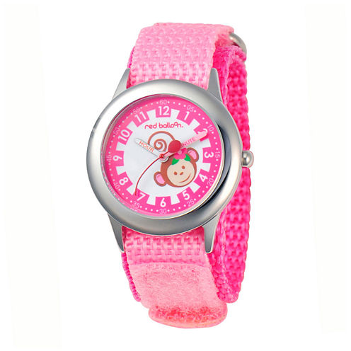 Red Balloon™ Girls' Pink Monkey Dial Strap Watch