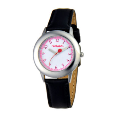 jcpenney.com | Red Balloon™ Girls' Black Leather Strap Watch
