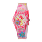 Red Balloon™ Girls' Pink Flower Strap Watch