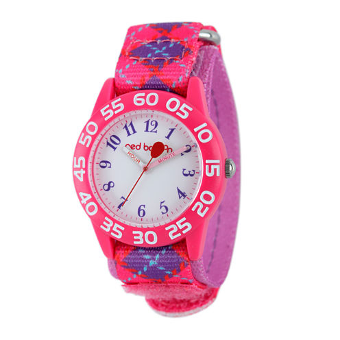 Red Balloon™ Girls Pink and Purple Plaid Strap Watch