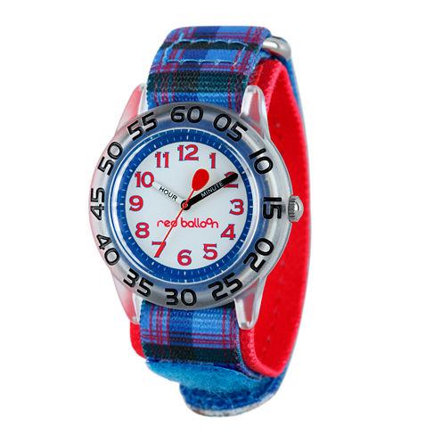 Red Balloon™ Boys Blue Plaid Strap Watch