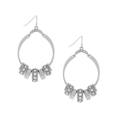 jcpenney.com | nicole by Nicole Miller® Crystal Silver-Tone Hoop Earrings