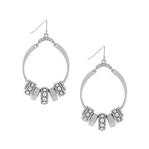 nicole by Nicole Miller® Crystal Silver-Tone Hoop Earrings