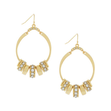 jcpenney.com | nicole by Nicole Miller® Gold-Tone Crystal Hoop Earrings