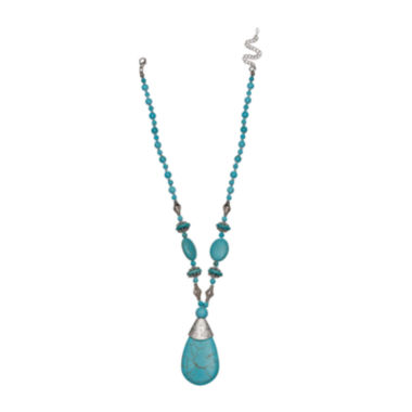 jcpenney.com | Mixit™ Reconstituted Turquoise Teardrop Necklace