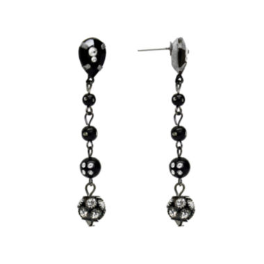 jcpenney.com | Aris by Treska Black and Silver-Tone Linear Drop Earrings