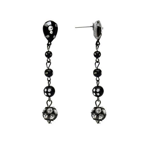 Aris by Treska Black and Silver-Tone Linear Drop Earrings