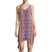 My Michelle® Sleeveless Printed Lace-Up-Back Alternative-Hem Dress