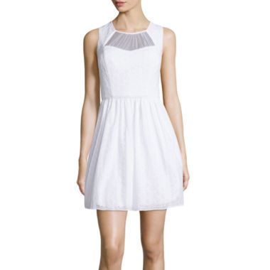 jcpenney.com | City Triangles® Sleeveless Mesh Inset Lace Skater Dress- Juniors