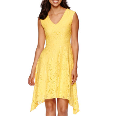 jcpenney.com | Studio 1® Sleeveless Daisy Lace Sharkbite Fit-and-Flare Dress