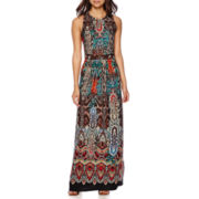 Trulli Sleeveless Paisley Print Beaded Waist Maxi Dress