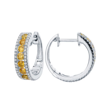 jcpenney.com | LIMITED QUANTITIES 1 CT. T.W. White and Color-Enhanced Yellow Diamond Hoop Earrings