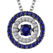 1/3 CT. T.W. White and Color-Enhanced Blue Diamond Pendant