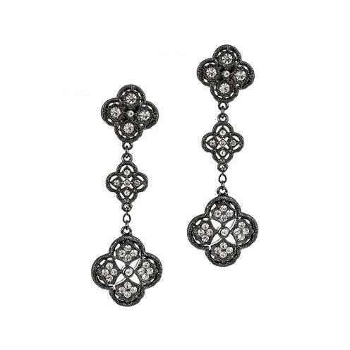 Jardin Black Dangle Filigree Trefoil Cluster Earrings