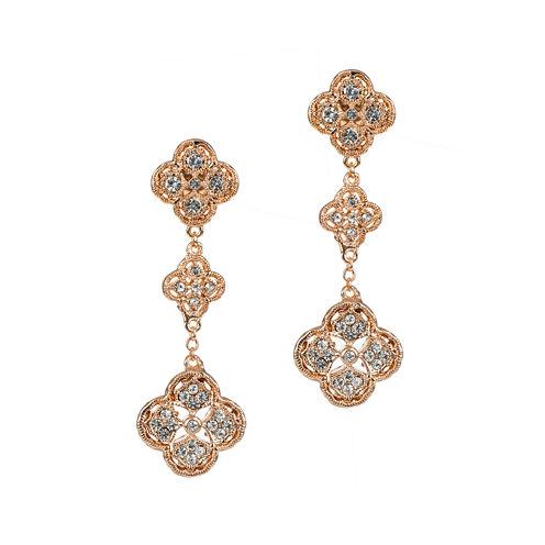 Jardin Rose-Tone Crystal Dangle Filigree Trefoil Cluster Earrings
