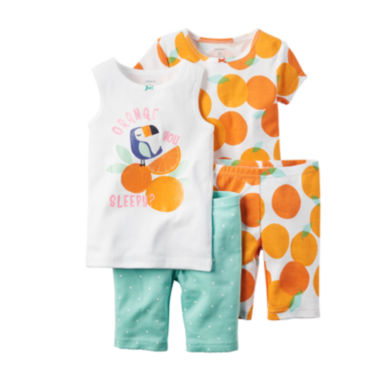 jcpenney.com | Carter's® 4-pc. Orange You Sleepy Pajama Set - Toddler Girls 2t-5t