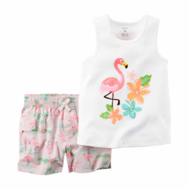 jcpenney.com | Carter's® 2-pc. Flamingo Tank Top and Shorts Set - Baby Girls newborn-24m