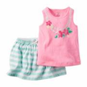 Carter's® 2-pc. Pink Necklace Tank Top and Short Set - Baby Girls newborn-24m