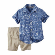Carter's® 2-pc. Blue Printed Top and Shorts Set - Toddler Boys 2t-5t