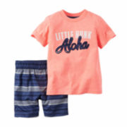 Carter's® 2-pc. Coral Hunk Tee and Shorts Set - Toddler Boys 2t-5t