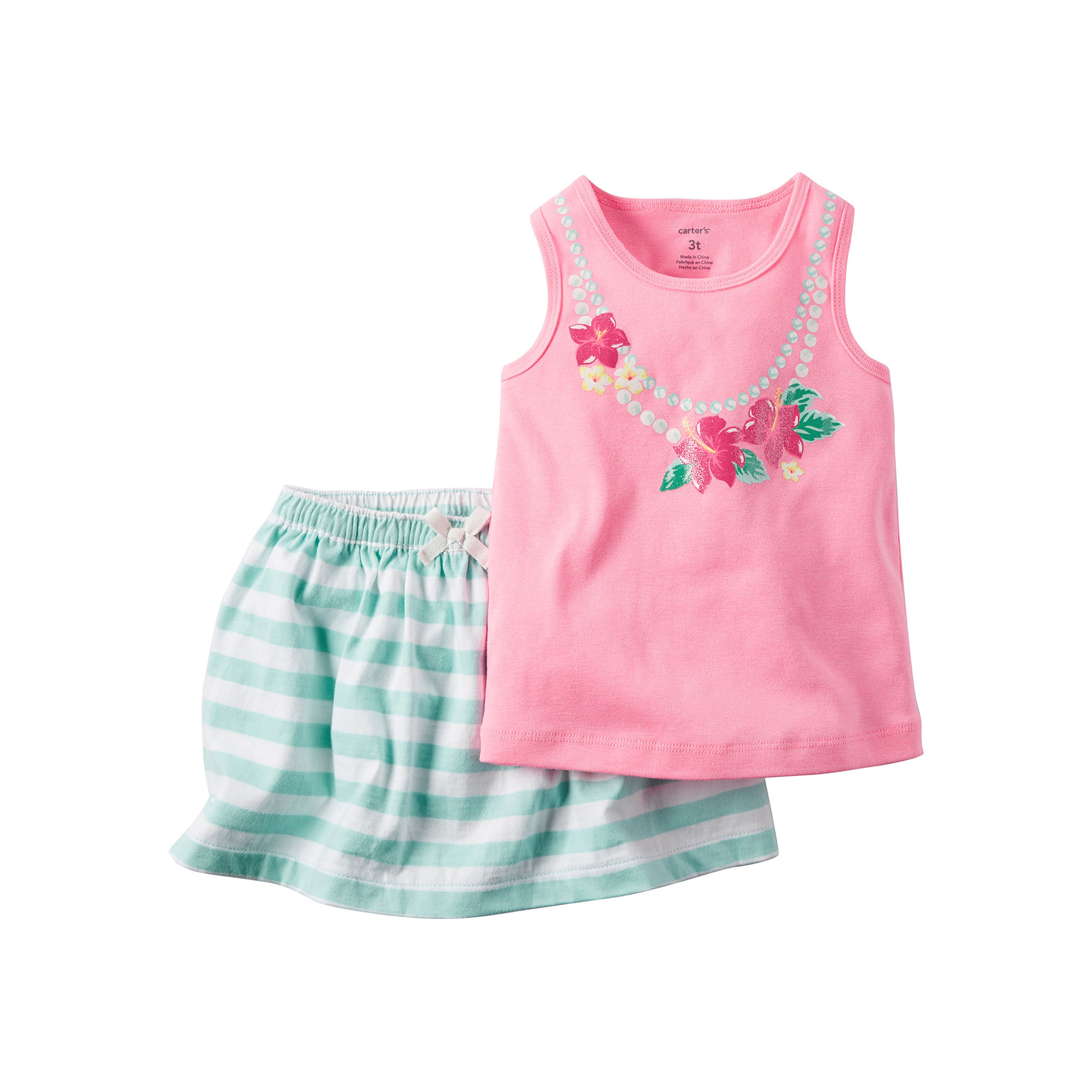 Carter's 2-pc. Pink Necklace Tank Top and Skirt Set - Toddler Girls 2t-5t plus size,  plus size fashion plus size appare