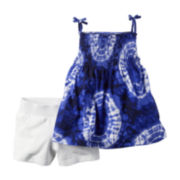 Carter's® 2-pc. Blue Tie Dye Tank Top and Shorts Set - Toddler Girls 2t-5t