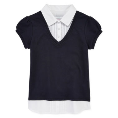 jcpenney.com | IZOD® Short Sleeve Layered-Look Top - Girls 7-16 and Plus