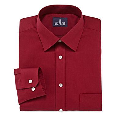 4 Stafford Mens Travel Long-Sleeve Broadcloth Dress Shirt (Cordovan)
