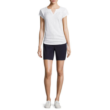 jcpenney.com | Liz Claiborne® Short-Sleeve Lace Yoke Tee or Stretch Twill Shorts