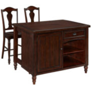 Blue Ridge Wood-Top Kitchen Island with Two Stools