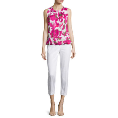 jcpenney.com | Liz Claiborne® Floral Bubble Top or Cuffed Sateen Cropped Pants