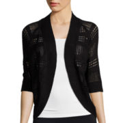 Liz Claiborne® Short-Sleeve Crochet Cardigan Sweater